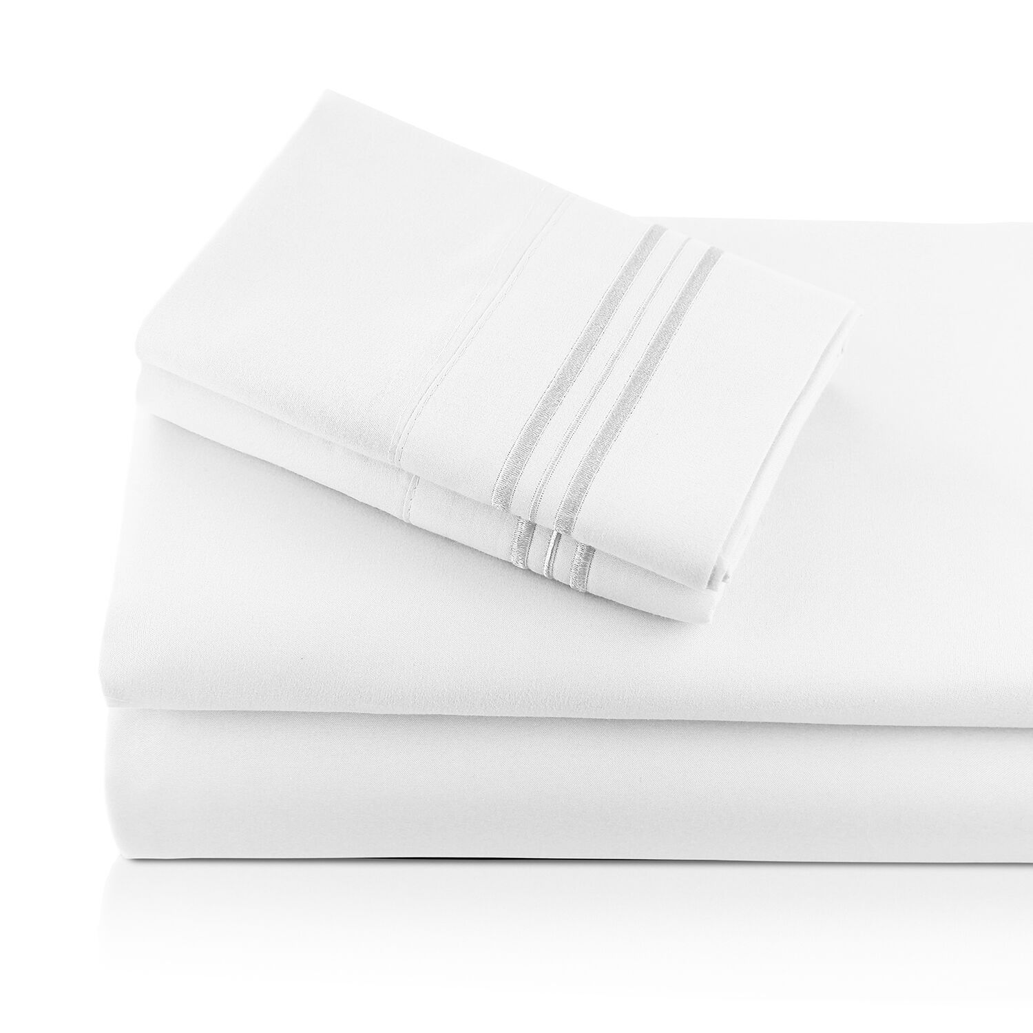 Alger Embroidered Microfiber Luxe Sheet Set Color: White, Size: Queen