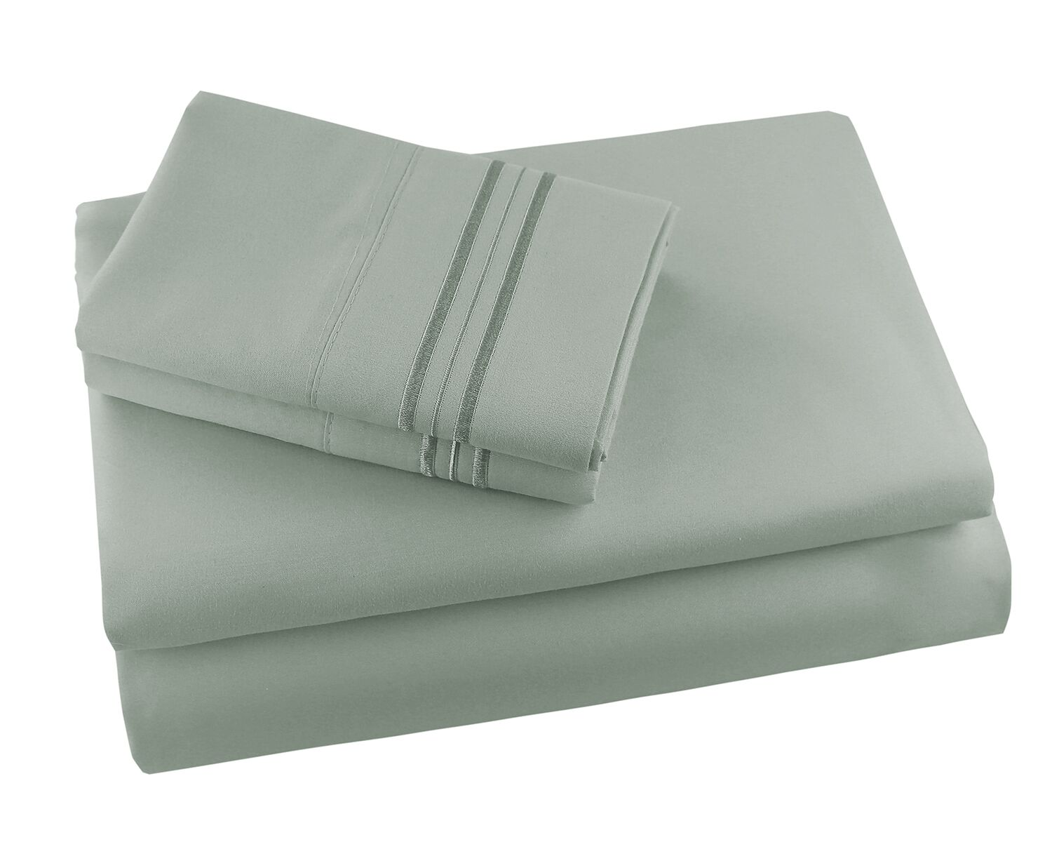 Alger Embroidered Microfiber Luxe Sheet Set Color: Sage, Size: California King
