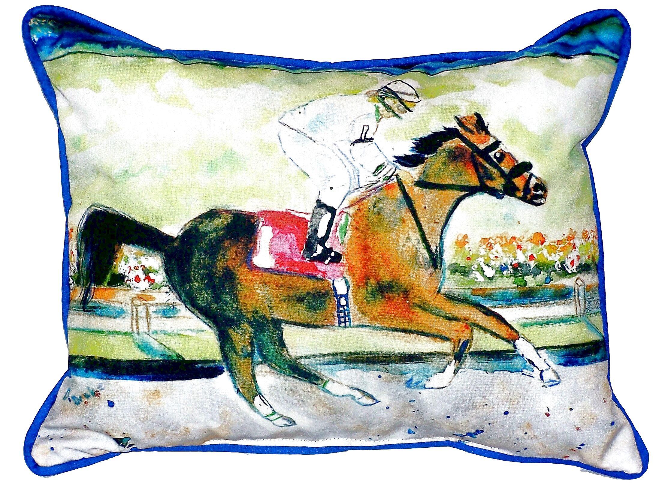 Racing Horse Indoor/Outdoor Lumbar Pillow
