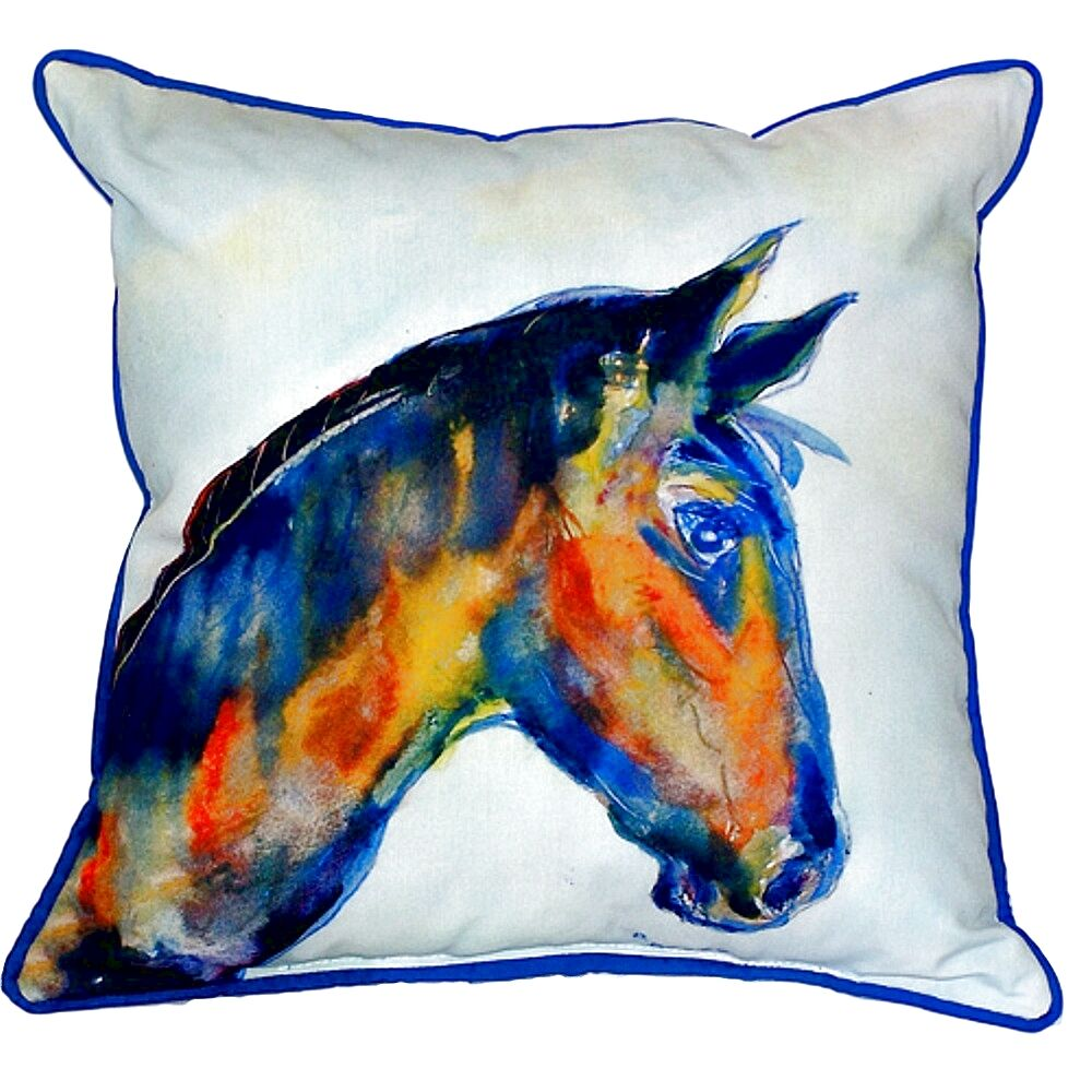 Melany Horse Indoor/Outdoor Throw Pillow Size: Large