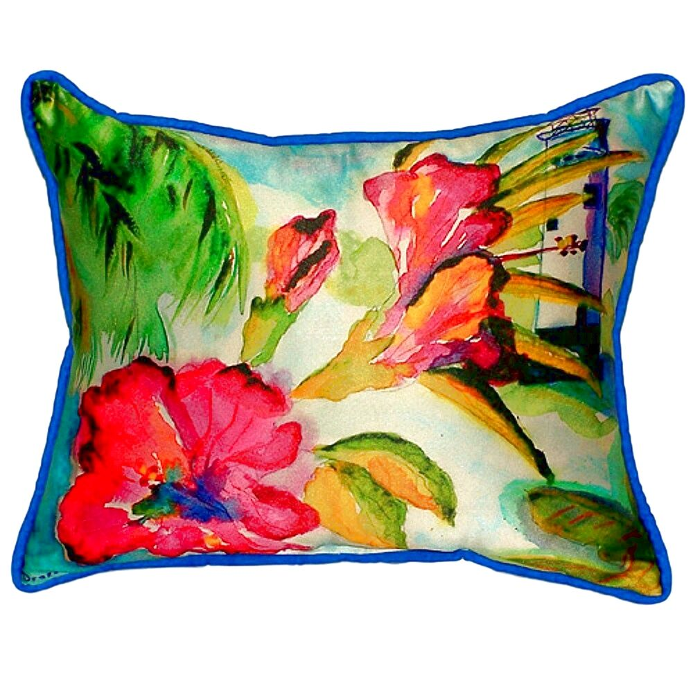 Lighthouse and Florals Indoor/Outdoor Lumbar Pillow Size: Small