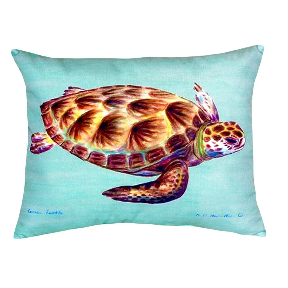 Tran Sea Turtle Indoor/Outdoor Lumbar Pillow Color: Teal