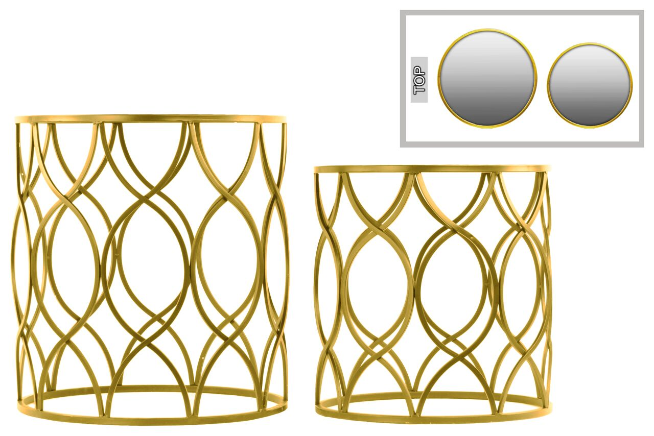 2 Piece End Table Set Color: Gold