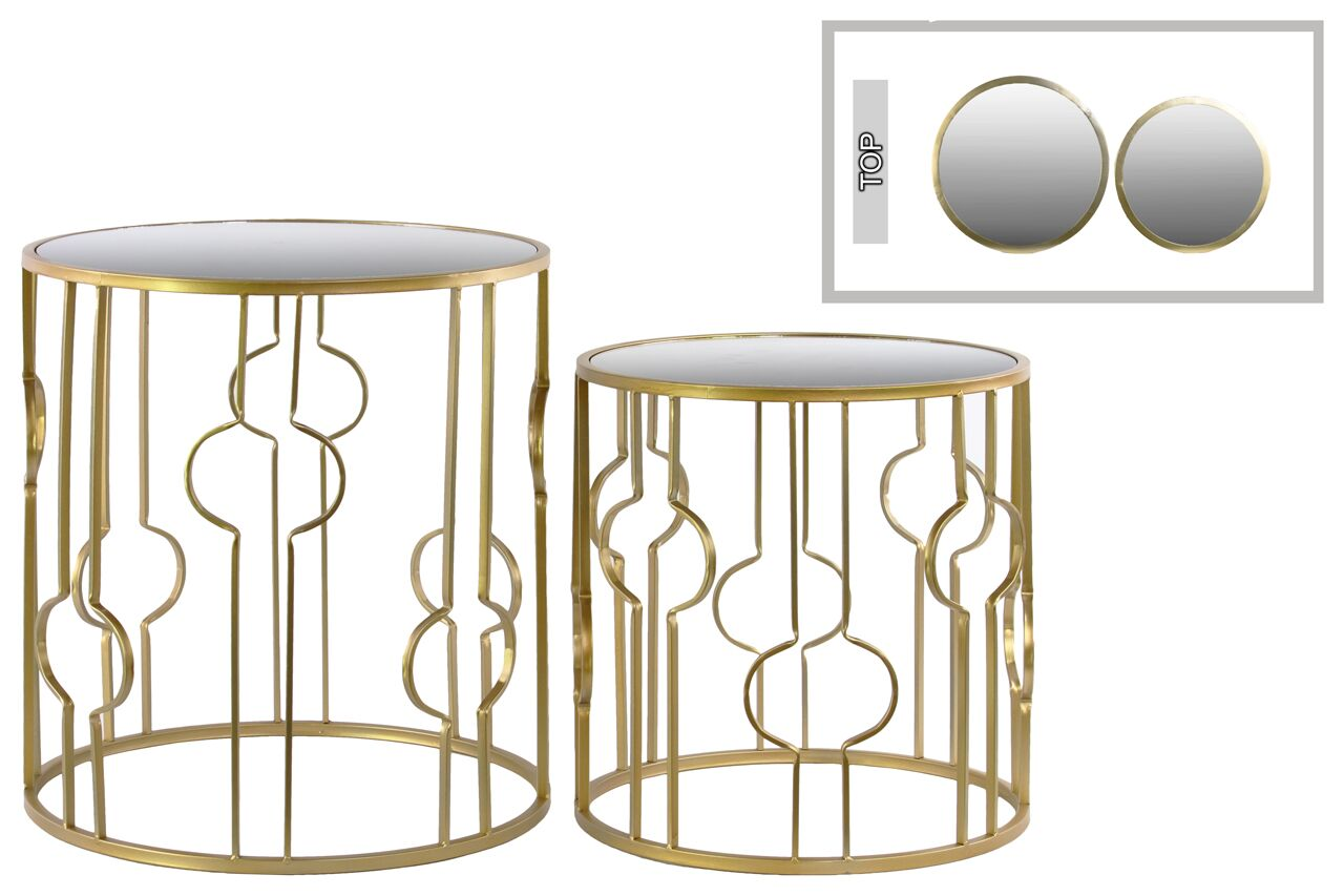 Metal 2 Piece Nesting Tables Table Base Color: Gold