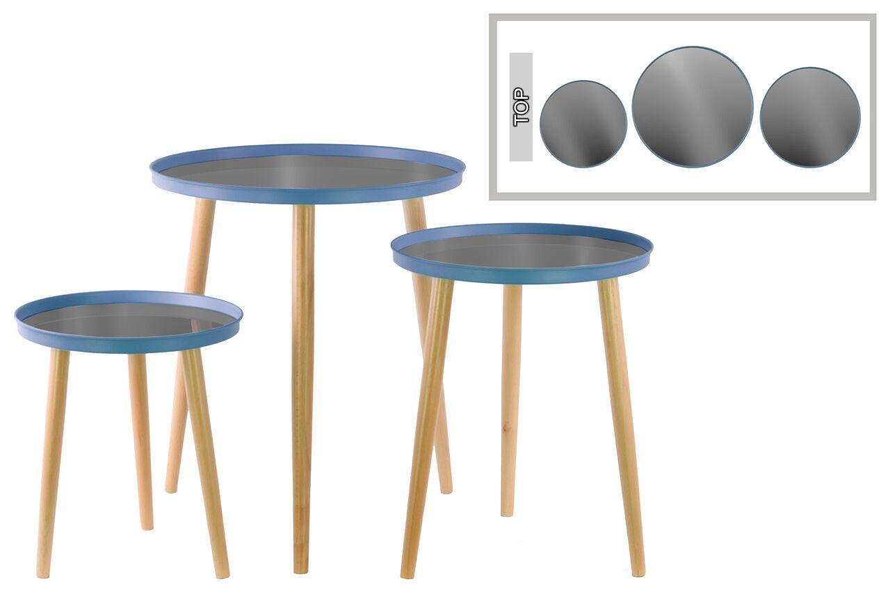 3 Piece End Table Set Color: Blue