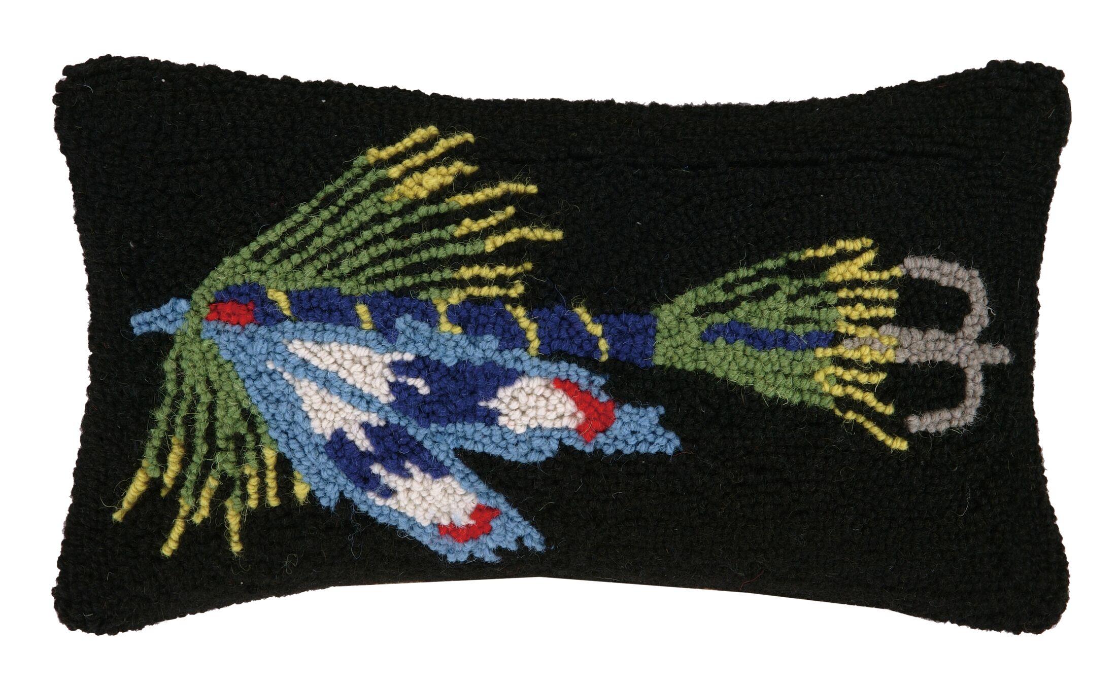 Fishing Lure in Hook Wool Lumbar Pillow