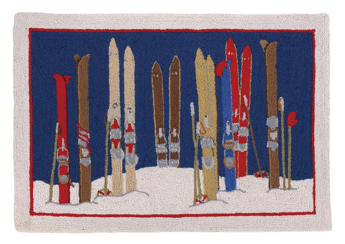 Skis and Poles Hook Area Rug