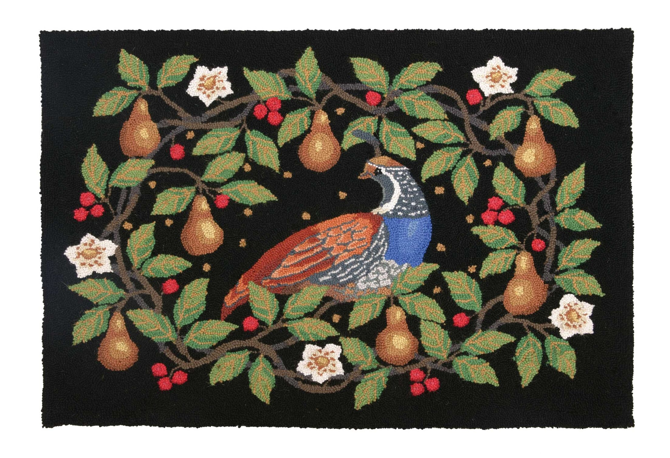 Partridge Pear Wreath Hook Area Rug