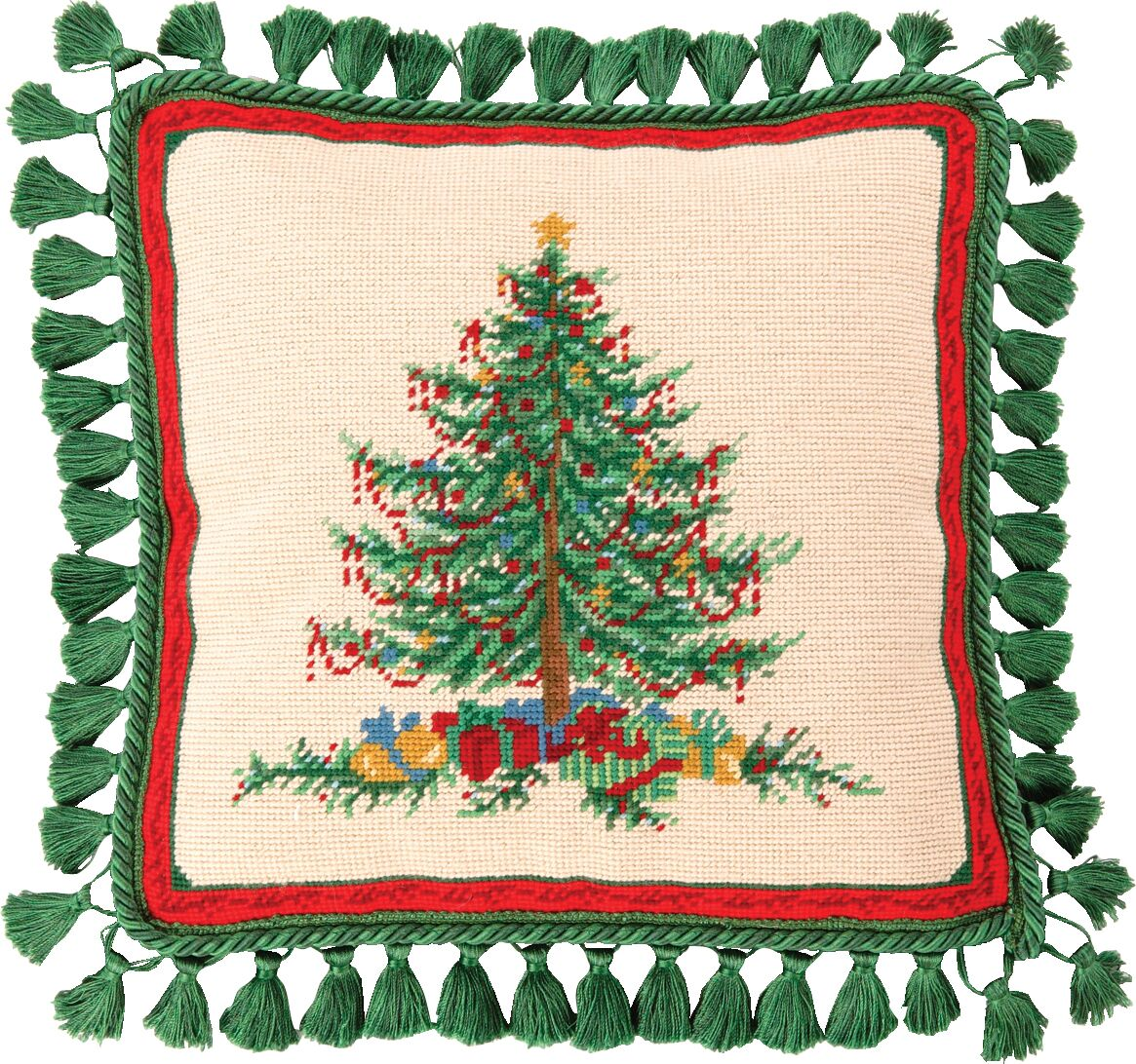 Needlepoint Classic Christmas Wool Throw Pillow