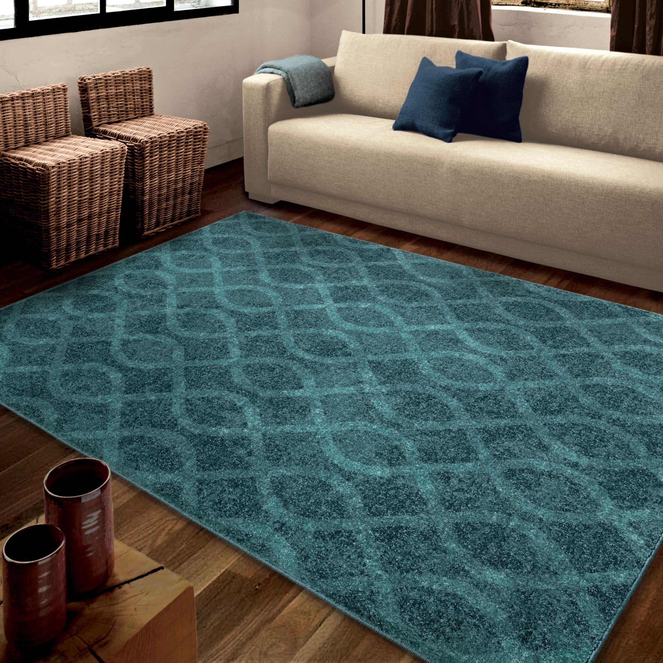Dora Blue Area Rug Rug Size: 5'3