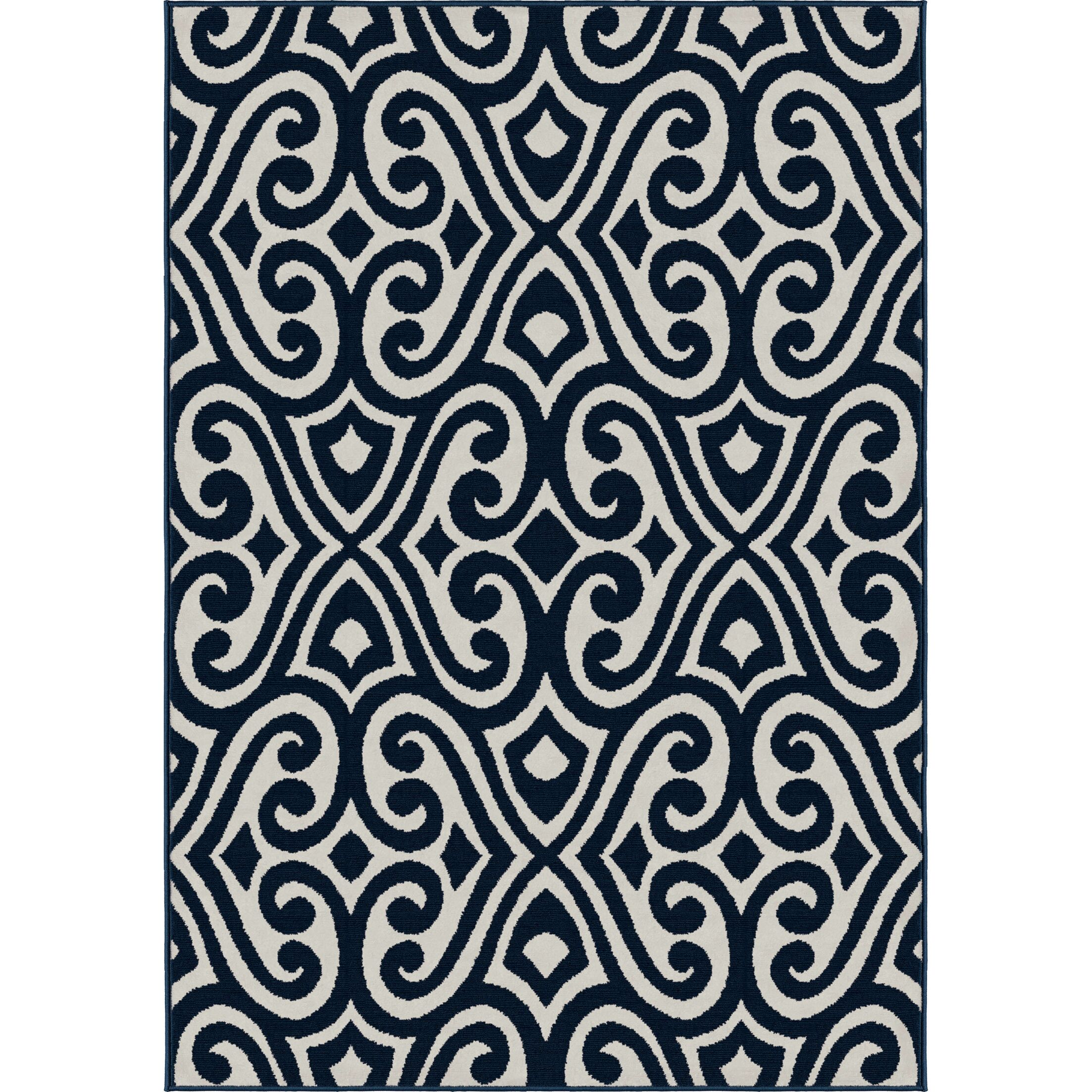Rufus Blue Area Rug Rug Size: 7'10