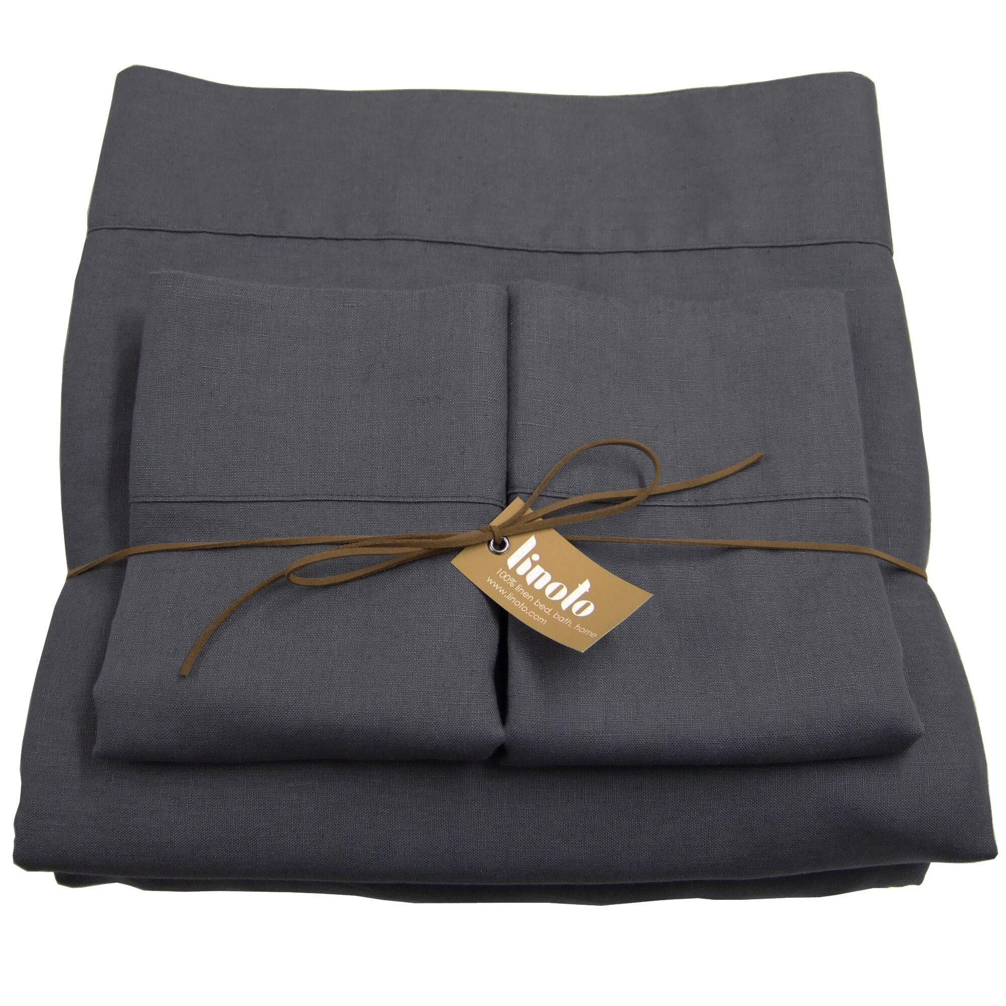 Linen Sheet Set Size: Full/Double, Color: Graphite