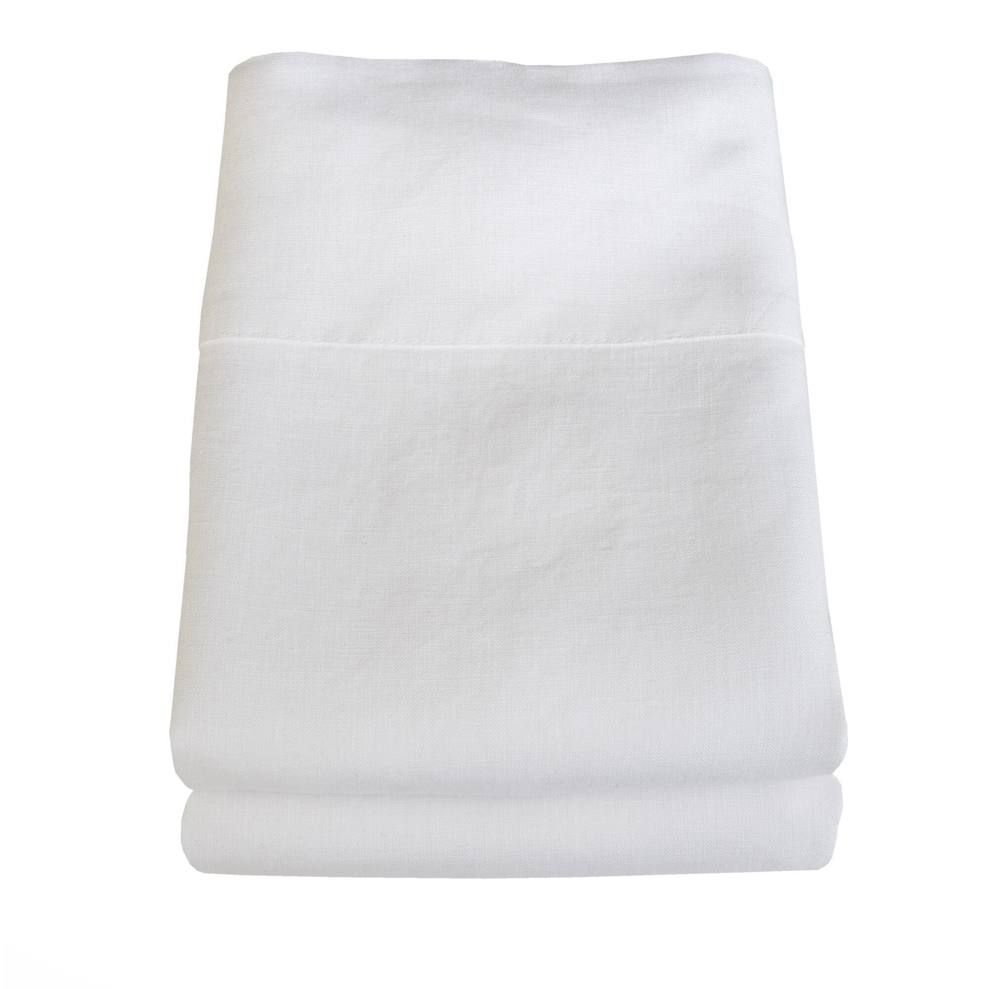 Belgian Eco-Linen Pillowcase Set Size: Standard/Queen, Color: Optic White
