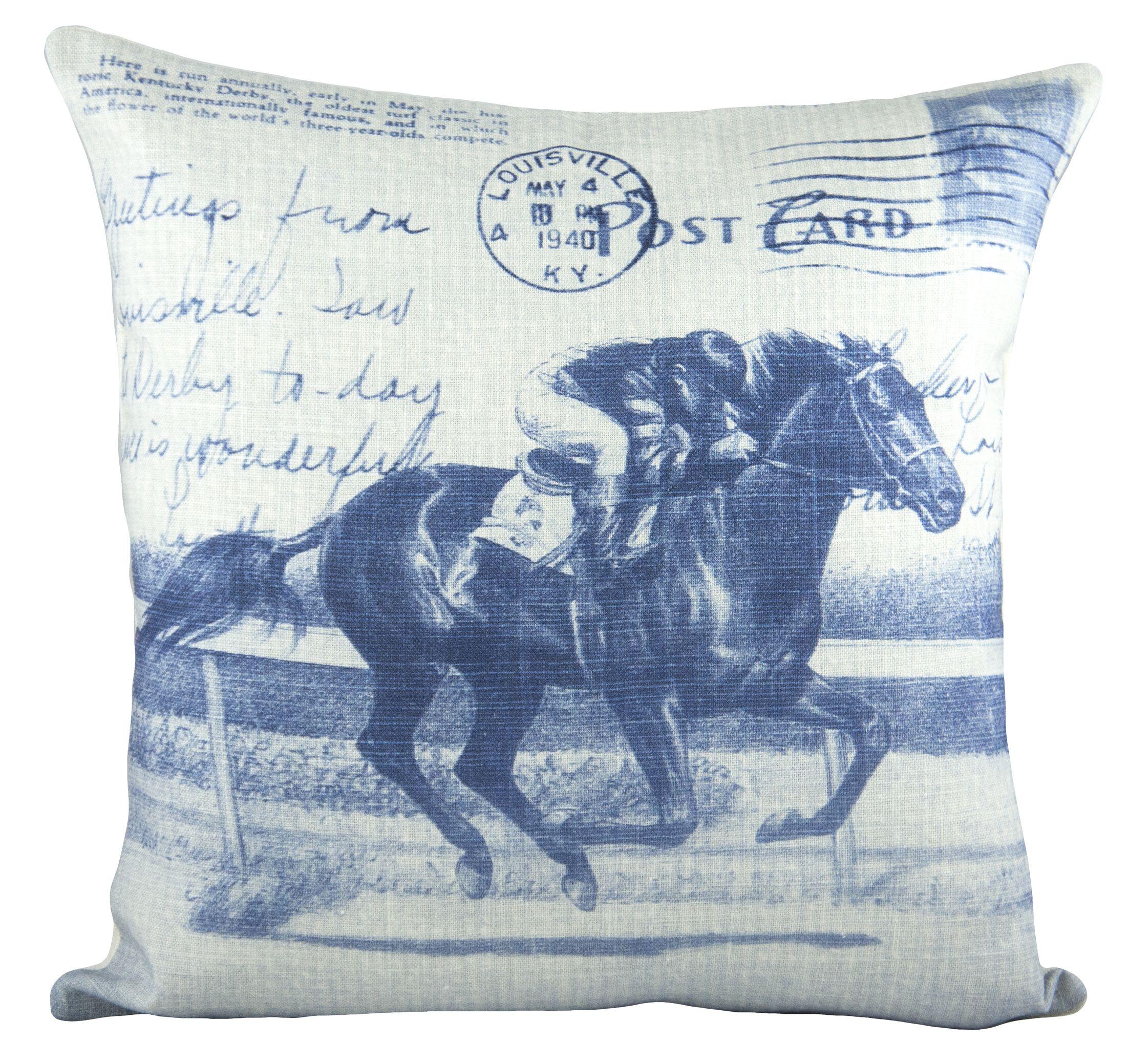 Horse Race Cotton Throw Pillow Color: Blue