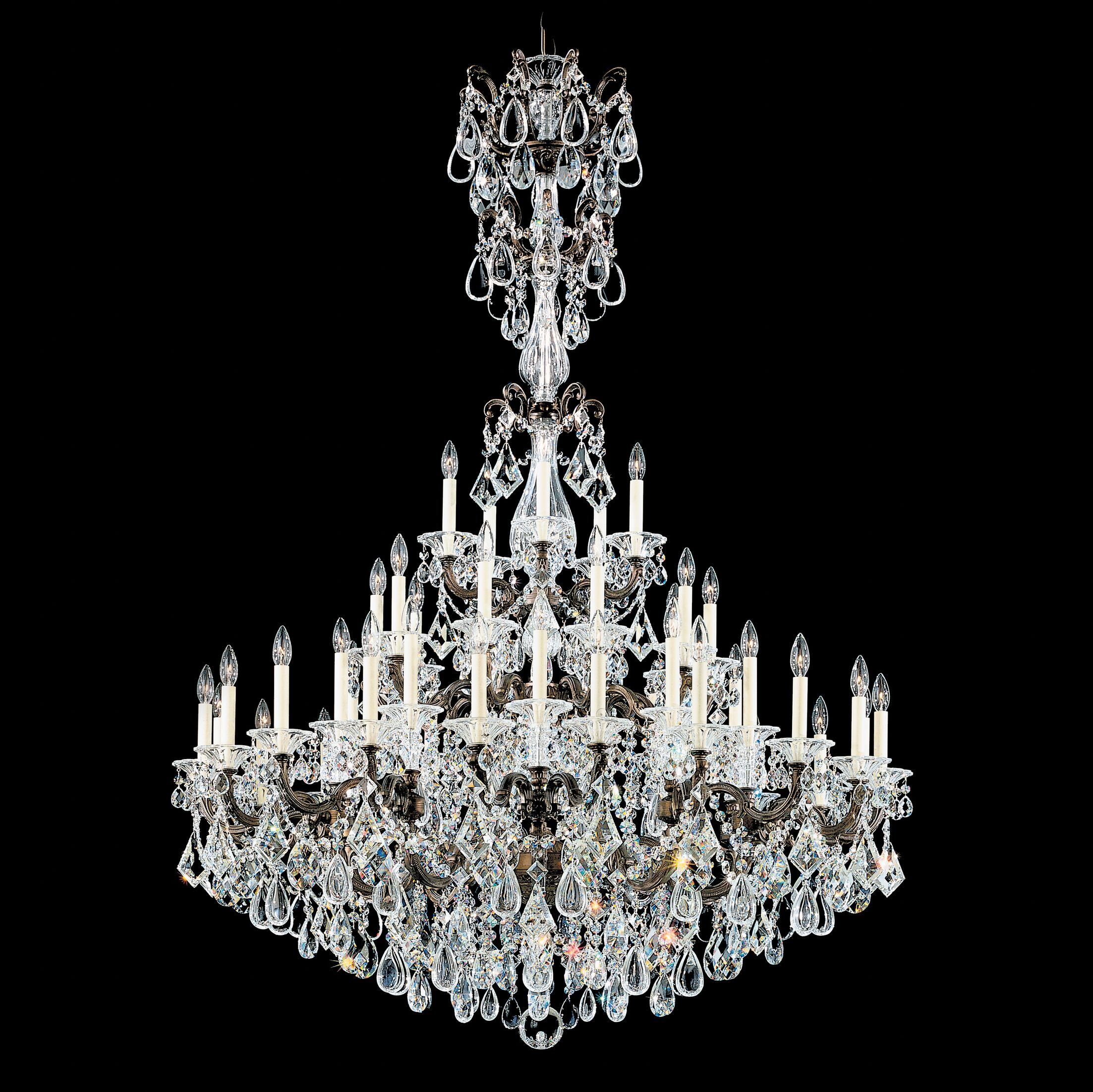 La Scala 45-Light Candle Style Chandelier Crystal Type: Heritage Clear, Finish: Parchment Gold
