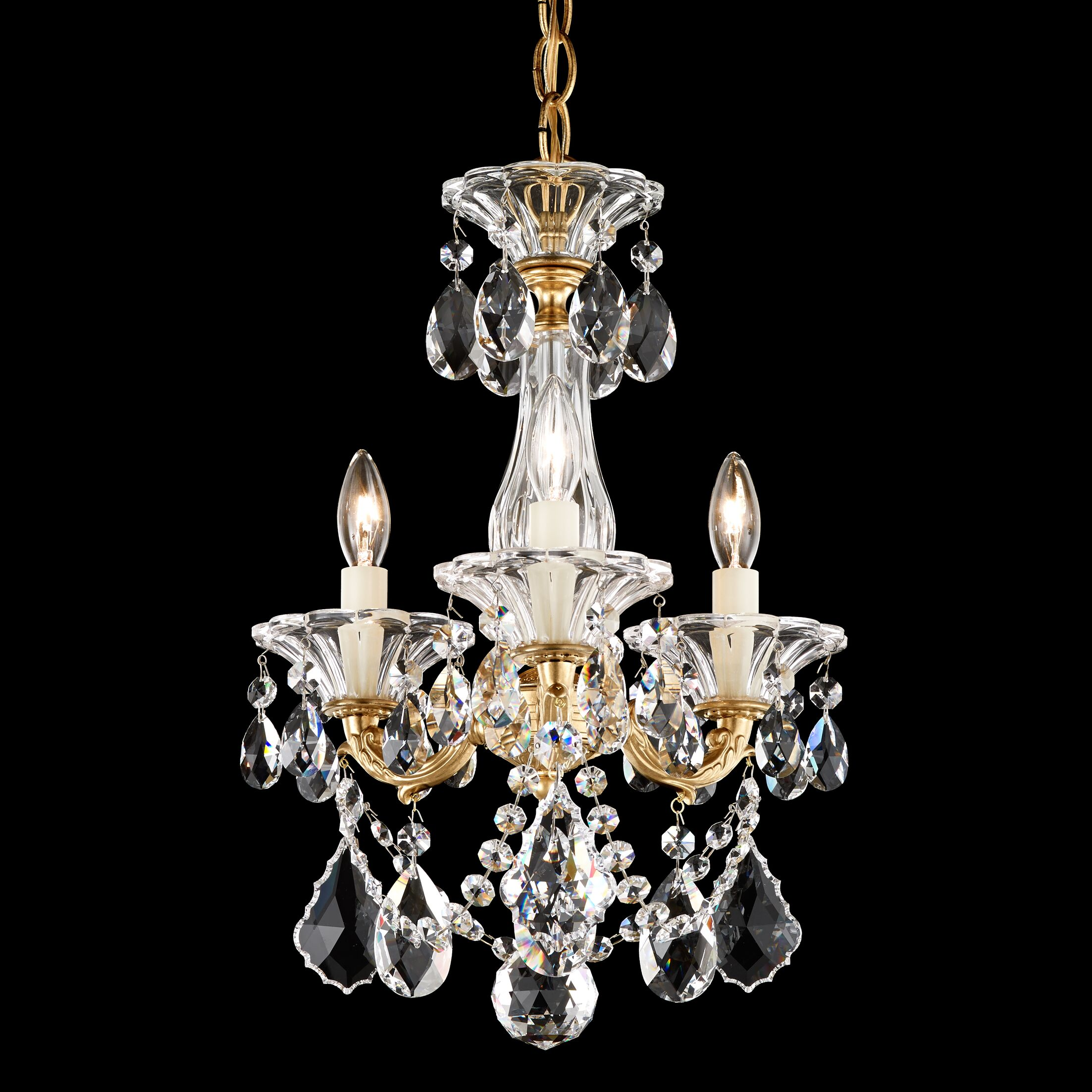 La Scala 3-Light Candle Style Chandelier Finish / Crystal Grade: Heirloom Bronze / Swarovski Clear