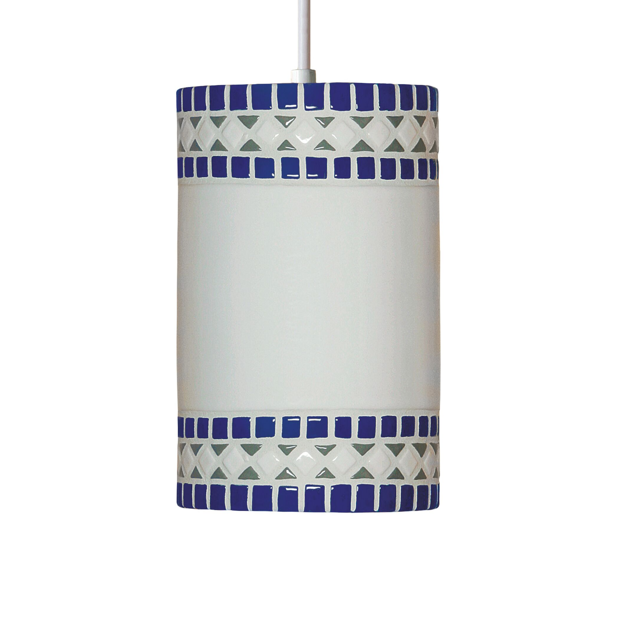 Borders 1-Light Cylinder Pendant Finish: Cobalt Blue, Bulb Type: Incandescent