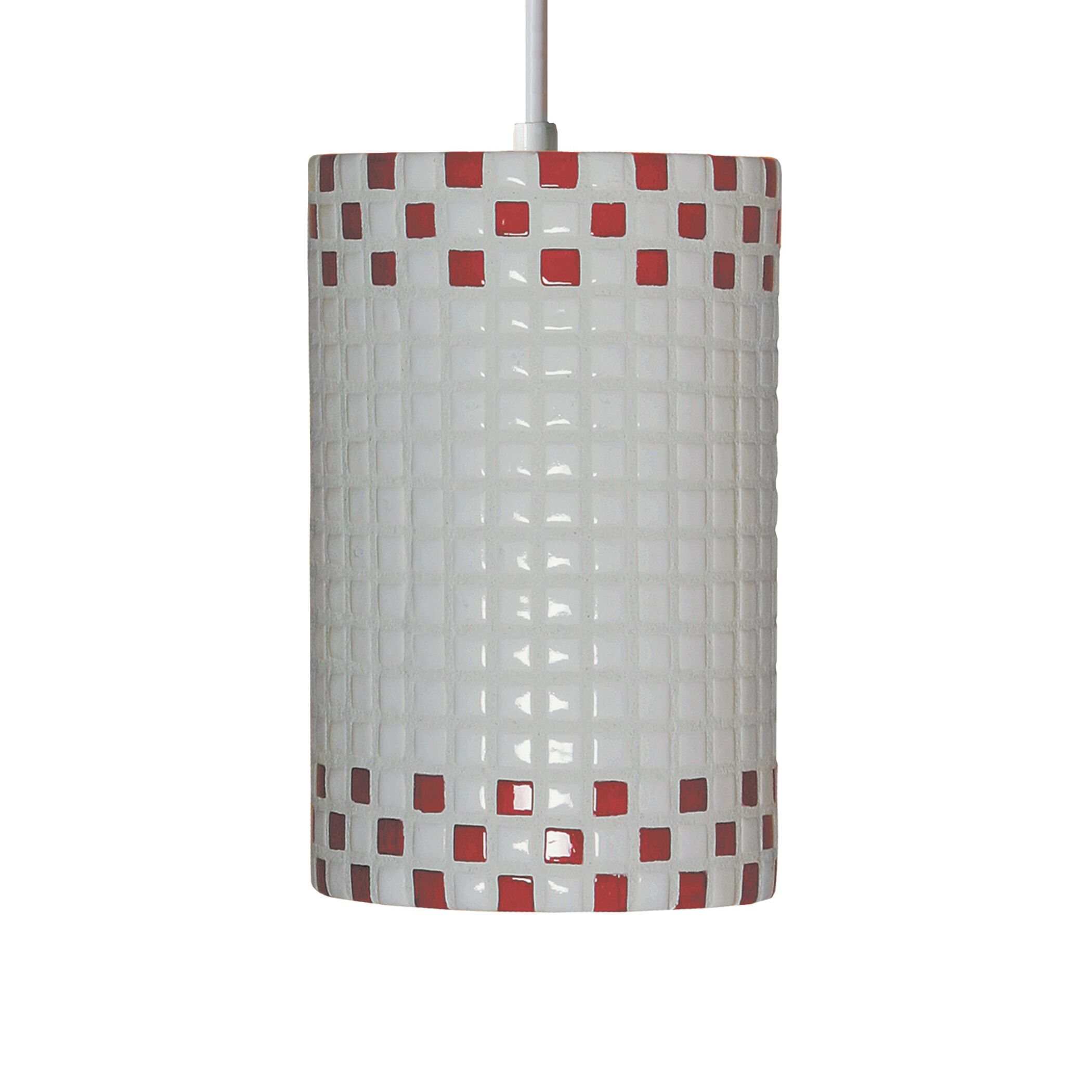 Mosaic 1-Light Cylinder Pendant Finish: Red and White, Bulb Type: Incandescent
