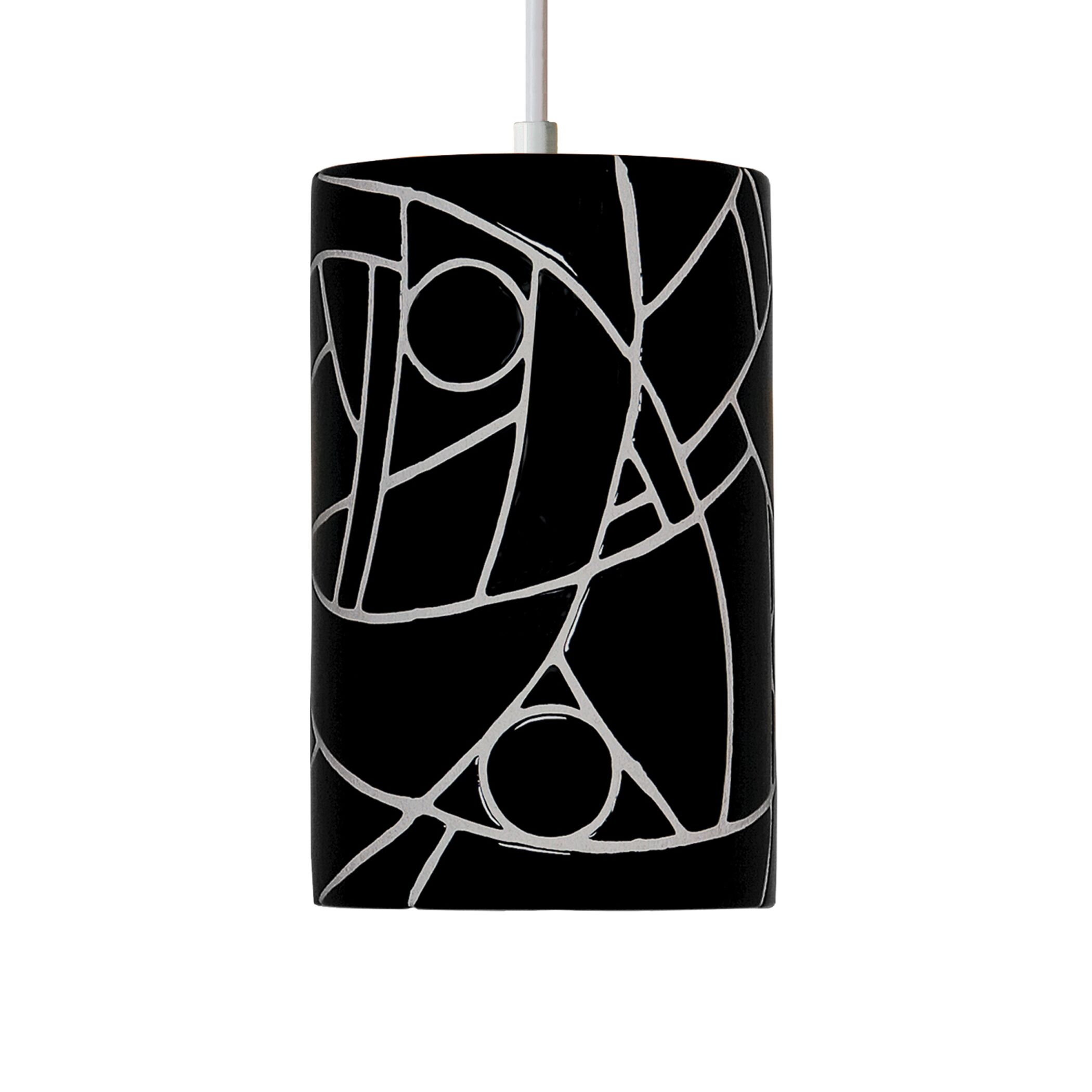 Mosaic 1-Light Cylinder Pendant Finish: Black, Bulb Type: Incandescent