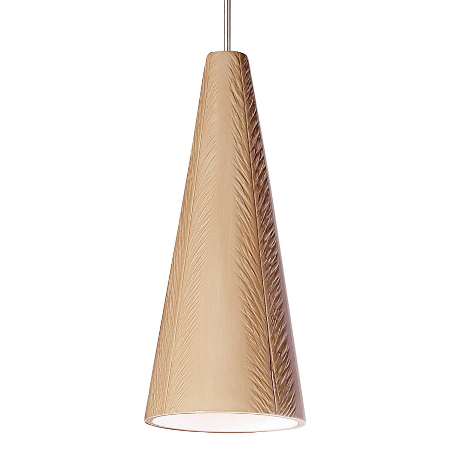 Fossil 1-Light Cone Pendant Finish: Tan, Canopy and Transformer: With