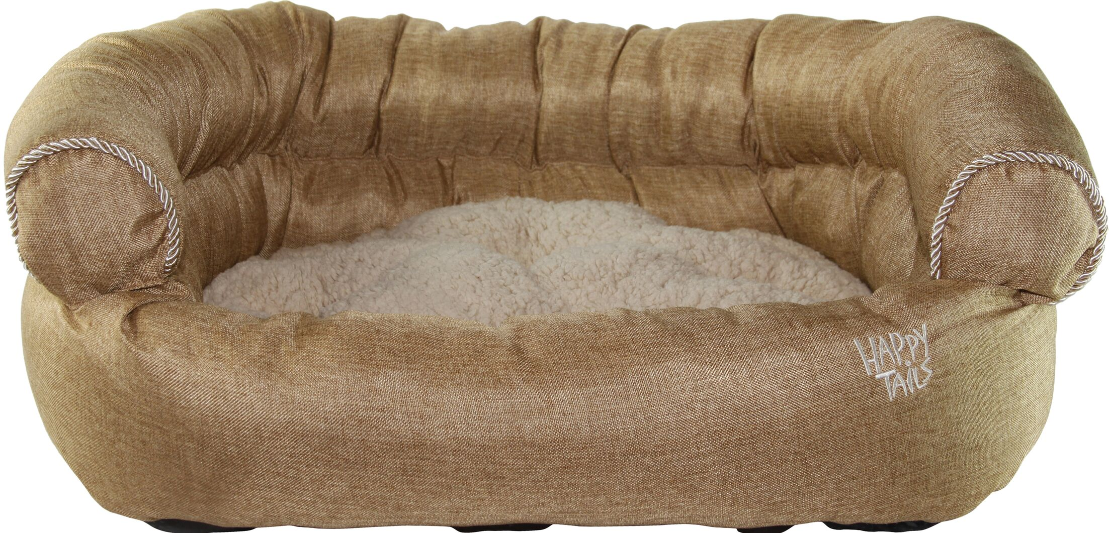 Luxurious Faux Linen Dog Sofa Color: Khaki
