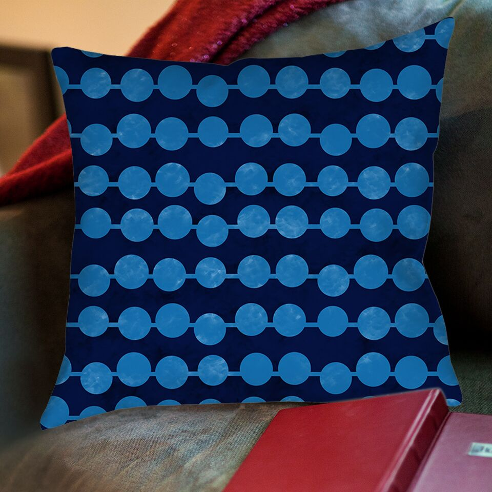 Line Dots Printed Throw Pillow Color: Navy, Size: 16