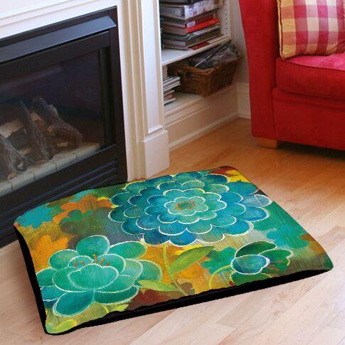 Aqua Bloom Blooms Pet Bed Size: 28