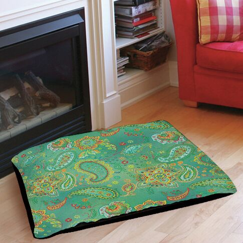 Aqua Bloom Paisley Pet Bed Color: Blue, Size: 50