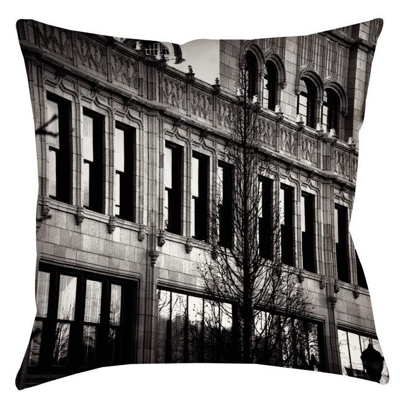 Urban Façade Printed Throw Pillow Size: 18