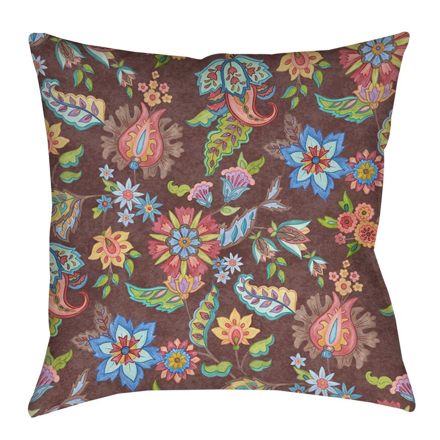 Shangri La Floral Printed Throw Pillow Color: Brown, Size: 18