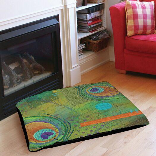 Peacock Pattern 2 Indoor/Outdoor Pet Bed Size: 40