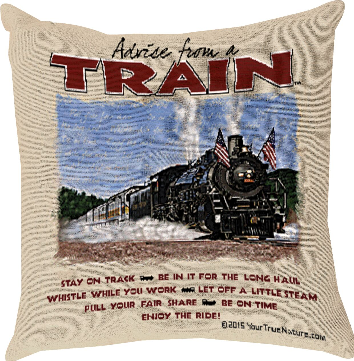 Advice from a Train Throw Pillow