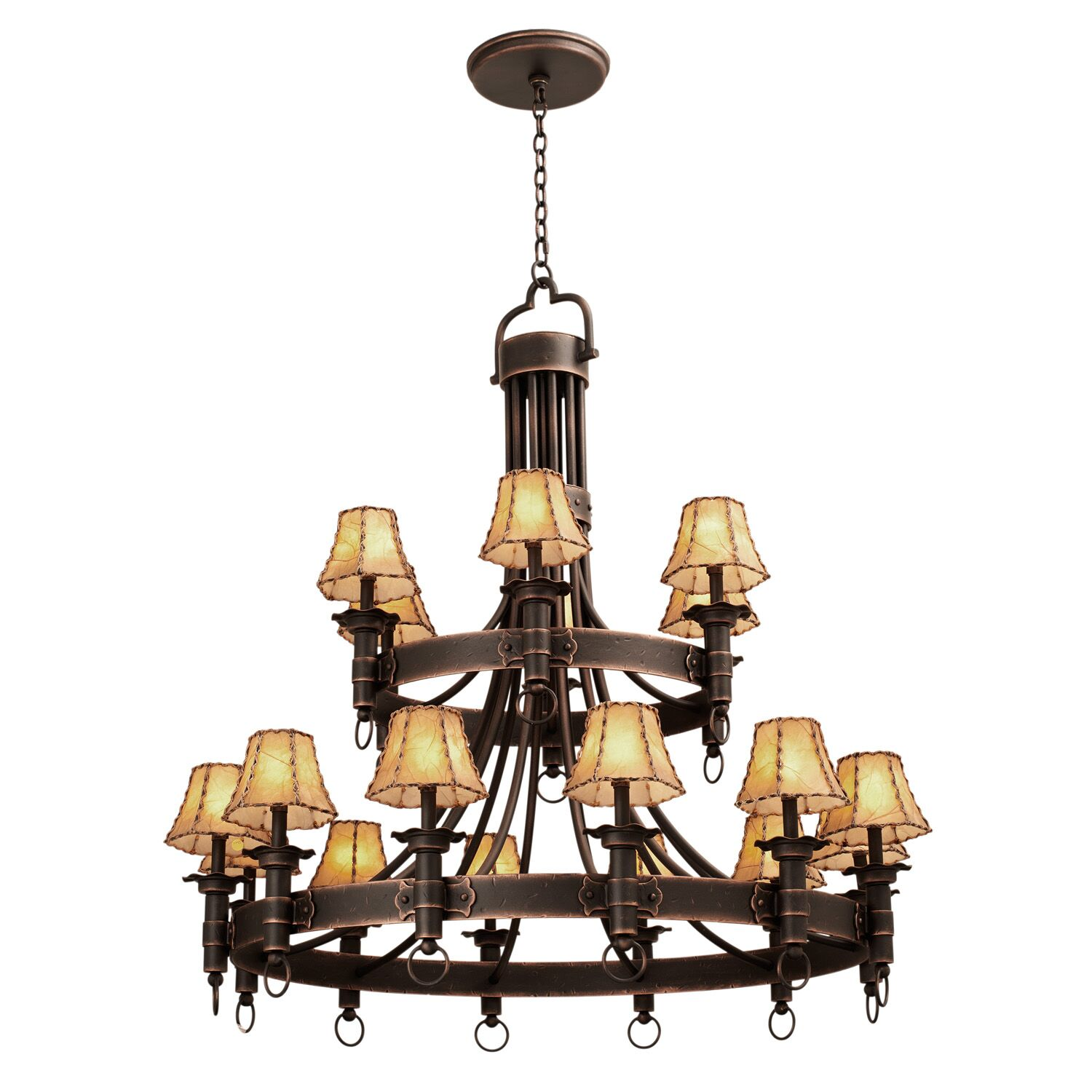 Americana 18-Light Shaded Chandelier Finish: Antique Copper, Shade Type: Small Silk Bell