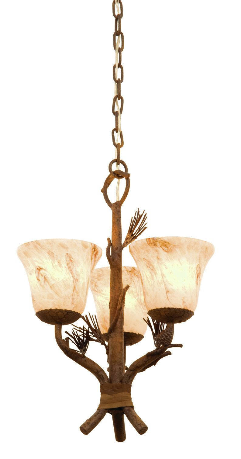 Ponderosa 3-Light Shaded Chandelier Shade Type: Stone - 1577