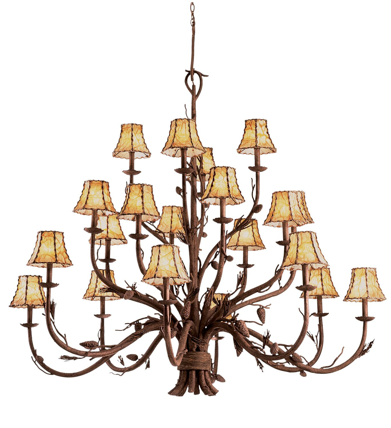 Ponderosa 20-Light Shaded Chandelier Shade Type: Silver Organza