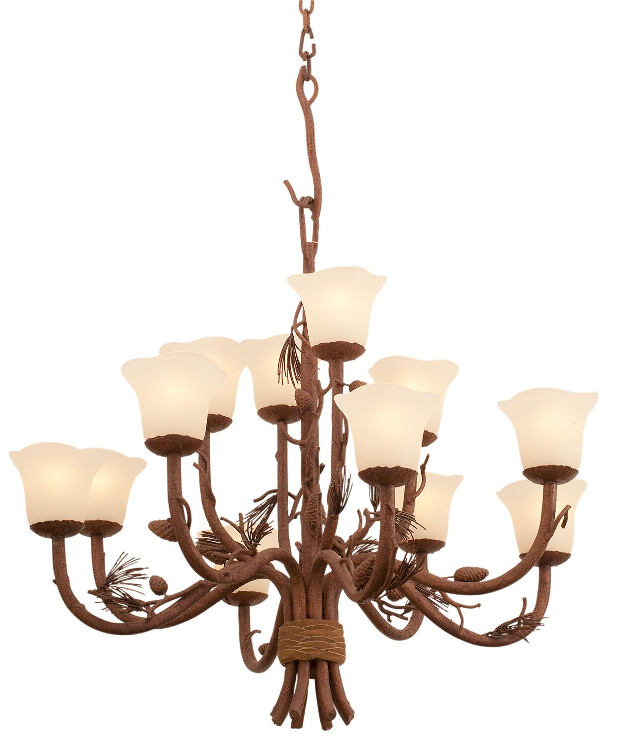Ponderosa 12-Light Shaded Chandelier Shade Type: Stone - 1577
