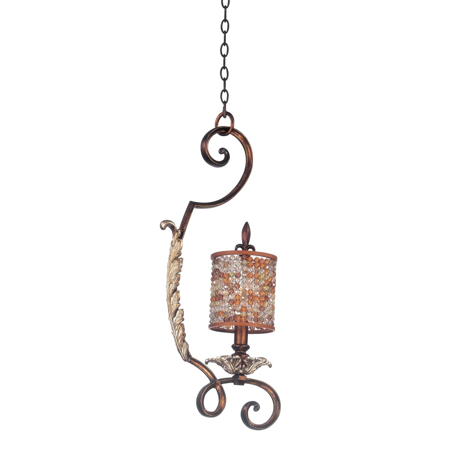 Chesapeake 1-Light Drum Pendant Finish: Antique Silver Leaf, Shade Type: Color Beaded Tapered