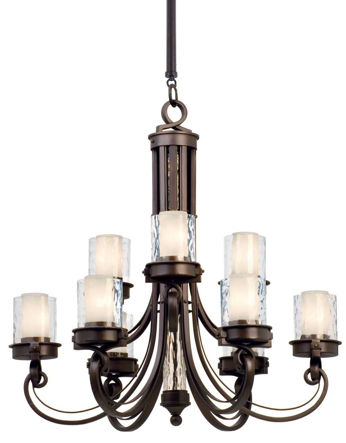 Newport 9-Light Shaded Chandelier Finish: Satin Bronze, Shade: Tea-stained glass
