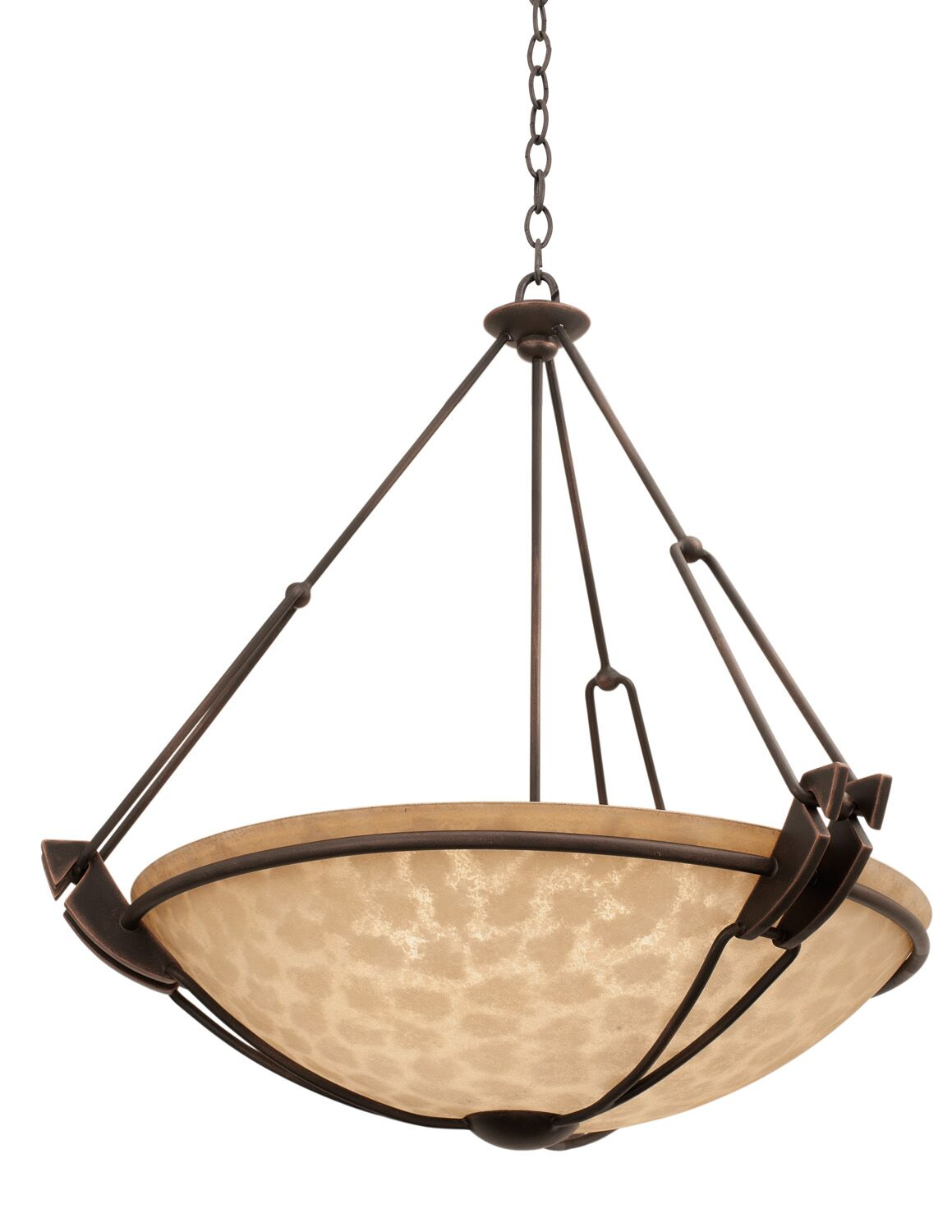 Grande 6-Light Bowl Pendant Finish: Antique Copper, Shade Type: Gold-streaked Amber