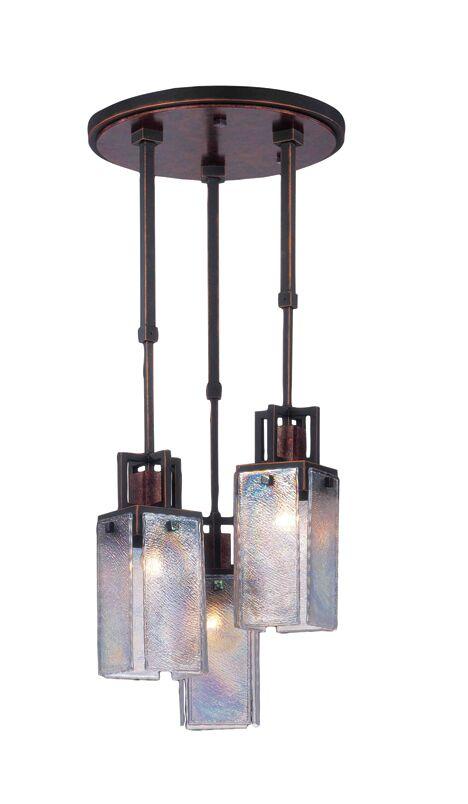 Bedford 3-Light Pendant Finish: Sienna Bronze, Shade: Iridescent Glass Panel 4-15/16