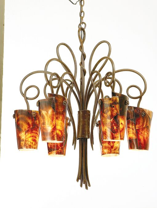 Tribecca 6-Light Shaded Chandelier Finish: Tortoise Shell, Shade: Tribecca Frost Side Glass