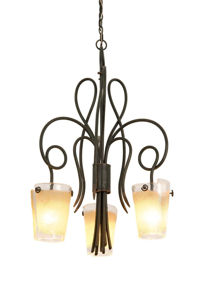 Tribecca 3-Light Shaded Chandelier Finish: Antique Copper, Shade: Tribecca Sunrise Side Glass