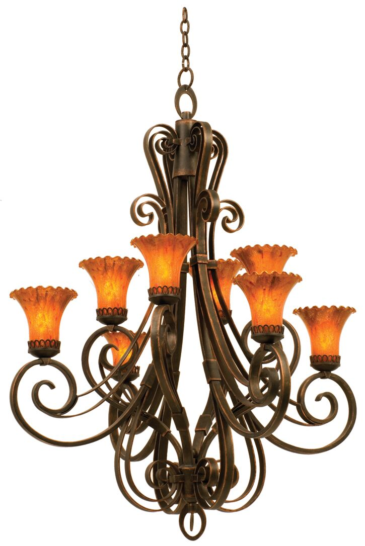 Mirabelle 8-Light Shaded Chandelier Shade Type: Blaze, Finish: Tuscan Sun