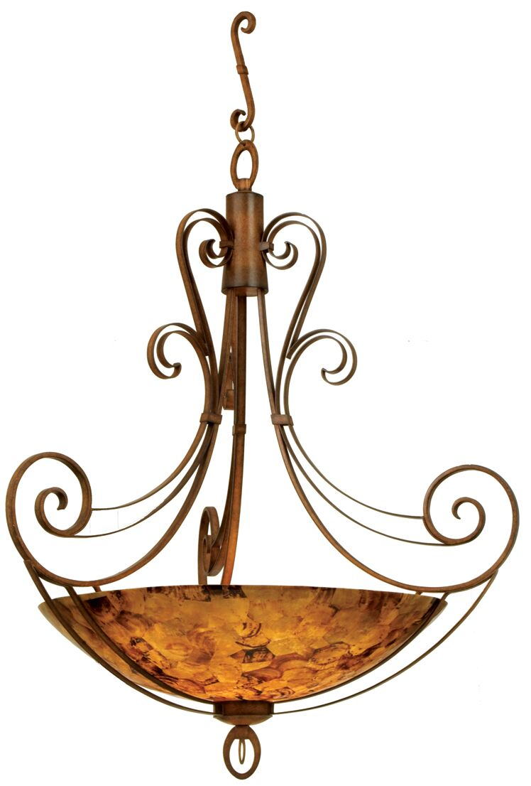 Mirabelle 6-Light Bowl Pendant Finish: Antique Copper, Shade Type: Art Nouveau Penshell