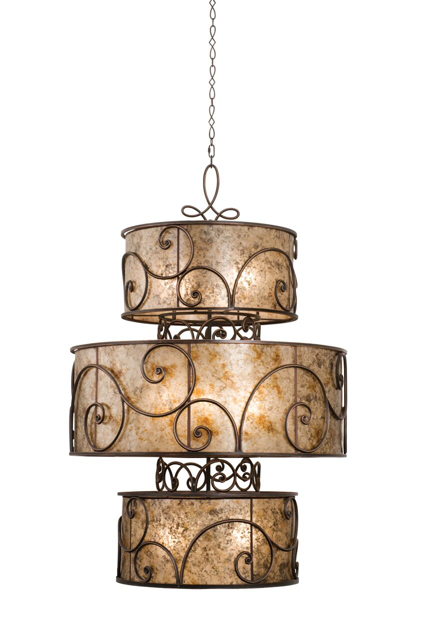 Windsor 12-Light Chandelier Finish: Aged Silver, Shade: Silver Mica Shade Set