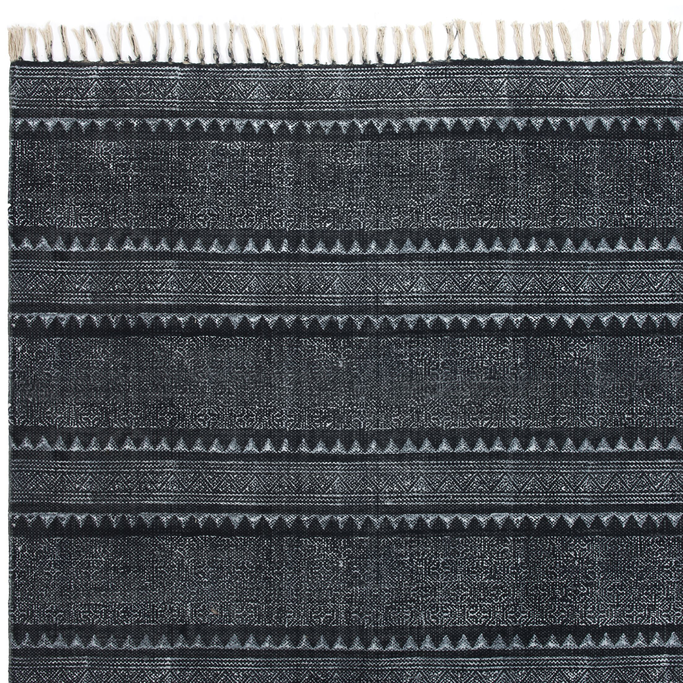 Astin Block Print Hand Woven Cotton Black/Denim Area Rug Rug Size: Rectangle 9' x 12'1