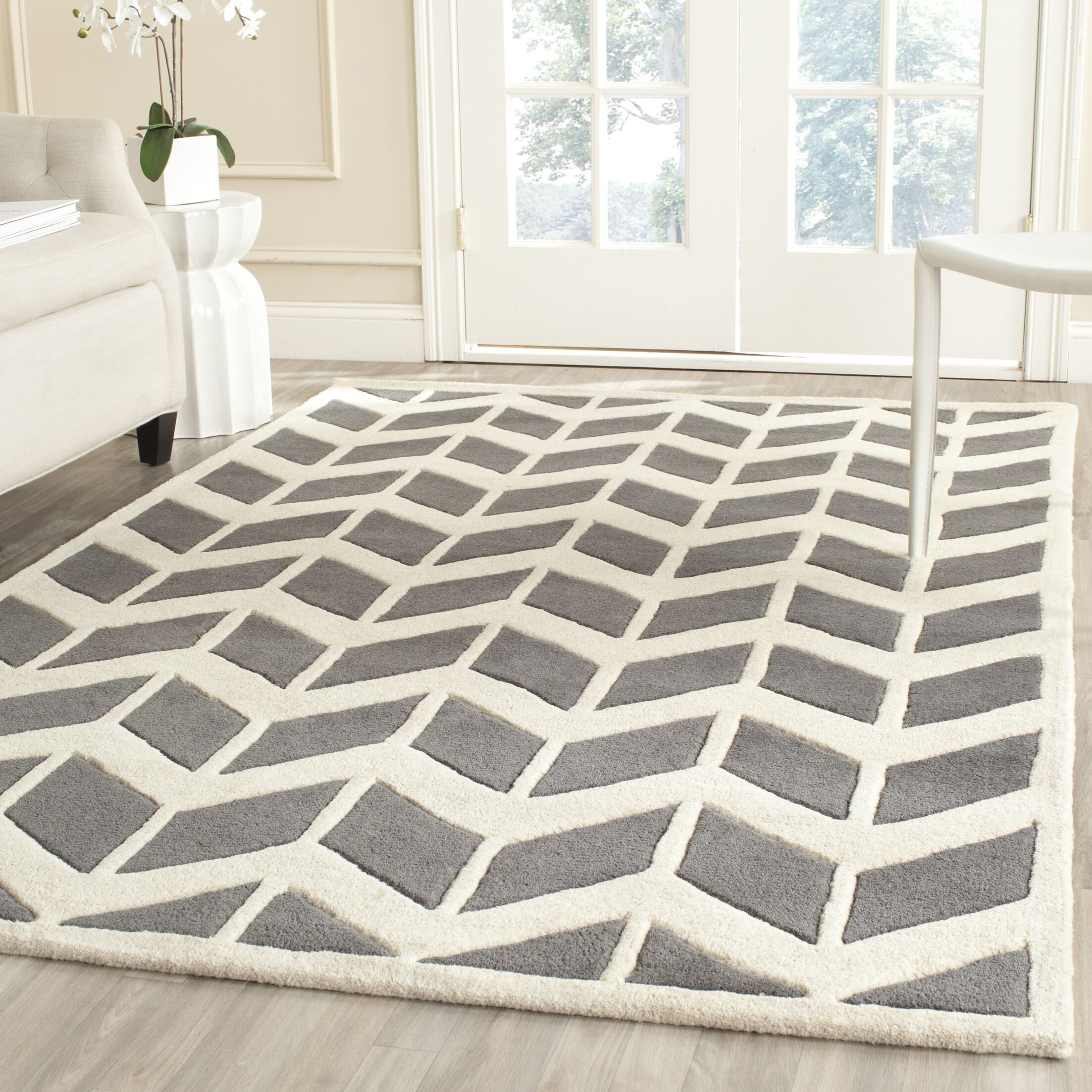 Wilkin Hand-Tufted Wool Dark Gray/Ivory Area Rug Rug Size: Rectangle 4' x 6'