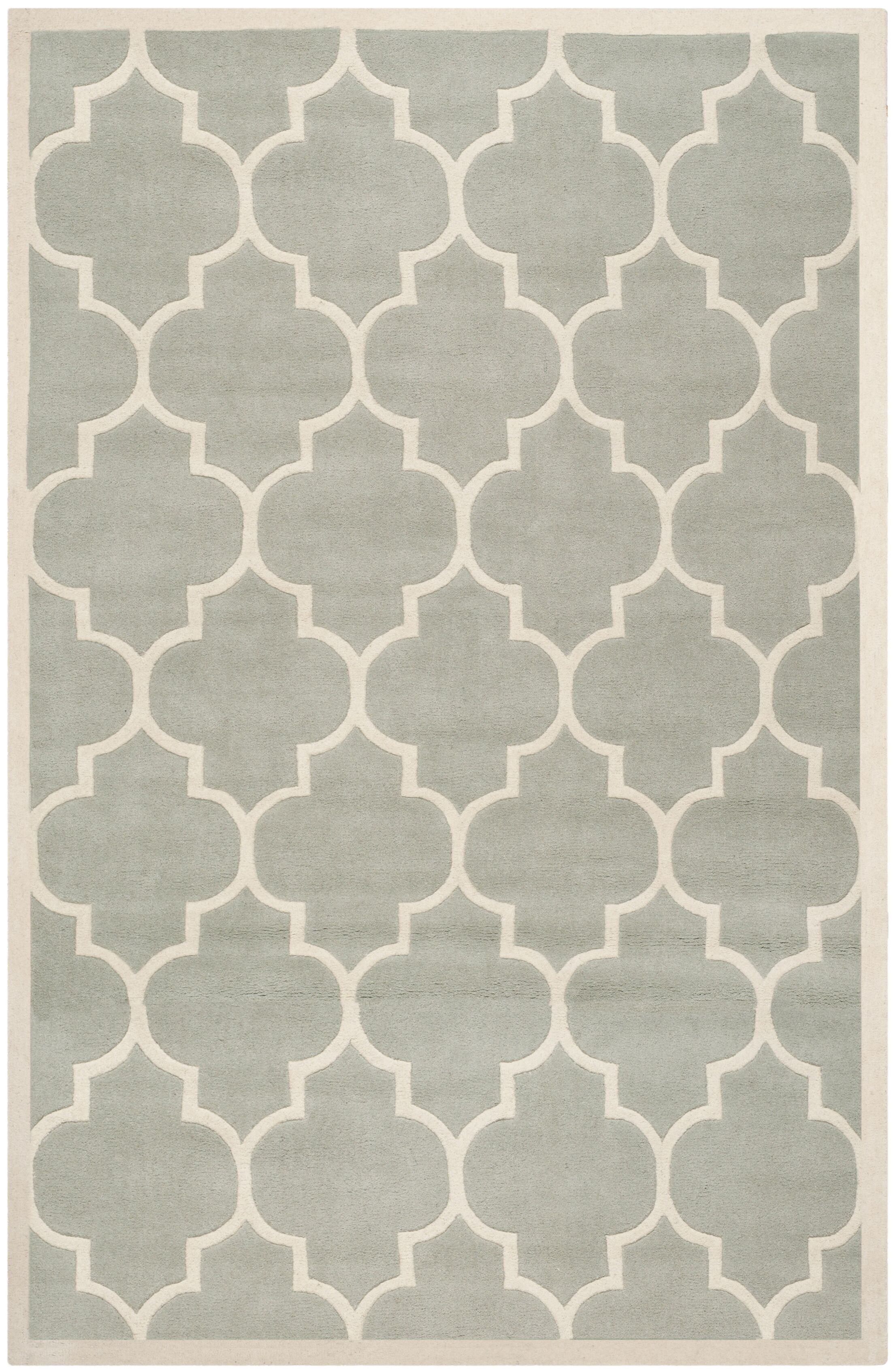 Wilkin Hand-Tufted Gray/Ivory Area Rug Rug Size: Rectangle 8' x 10'
