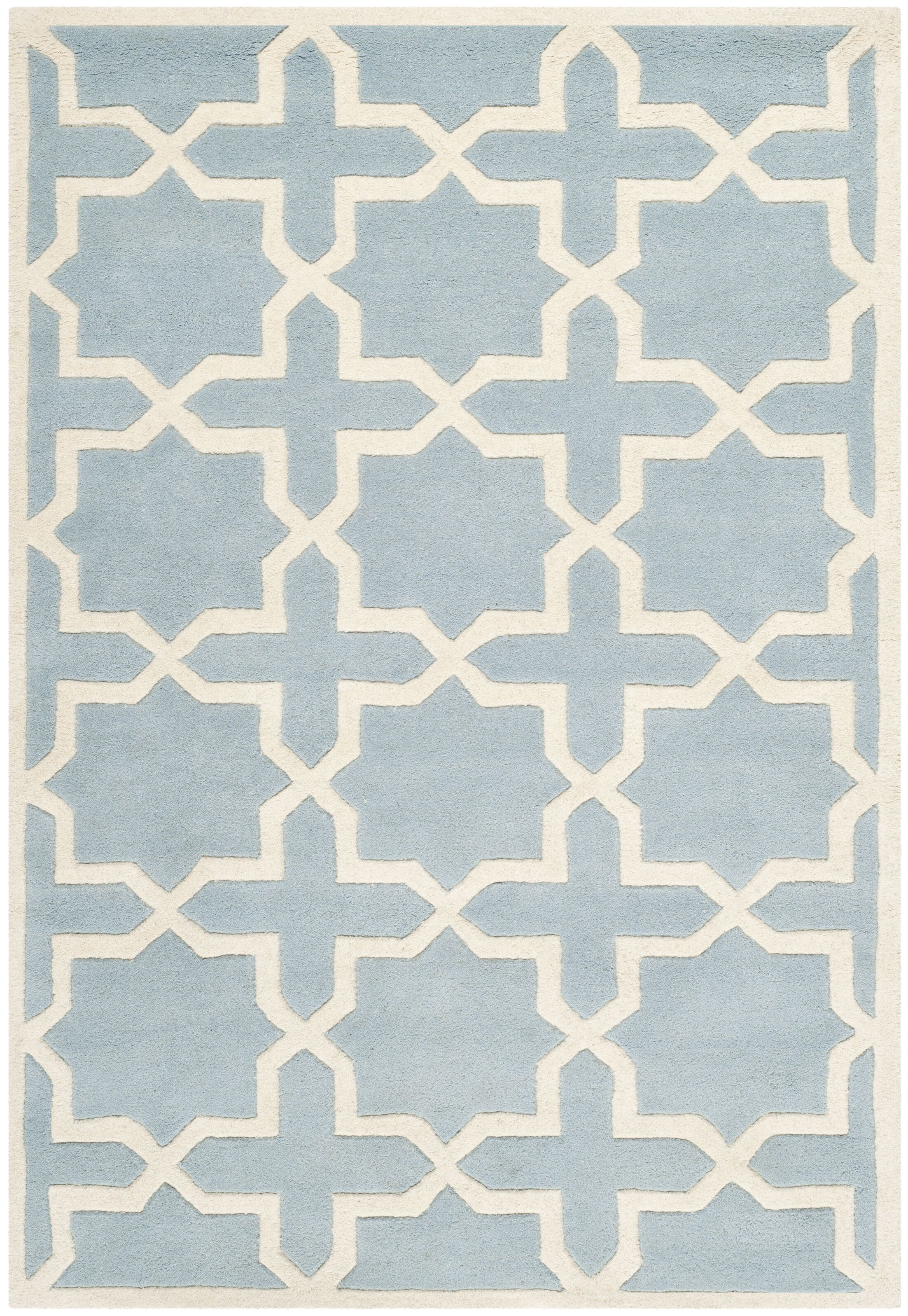 Wilkin Hand-Tufted Blue/Ivory Area Rug Rug Size: Runner 2'3