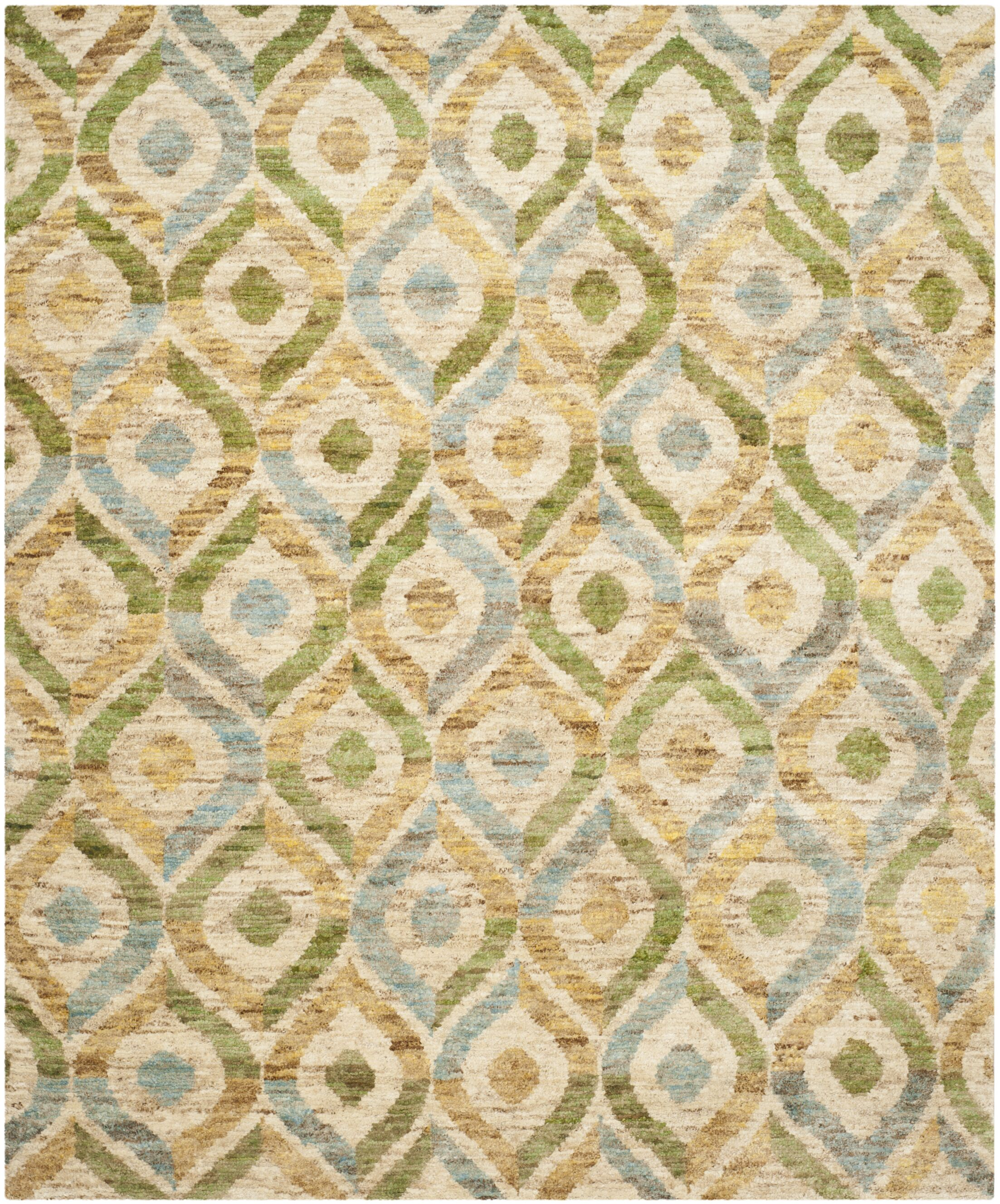 Pinehurst Contemporary Hand-Knotted Beige/Blue Area Rug Rug Size: Rectangle 8' x 10'